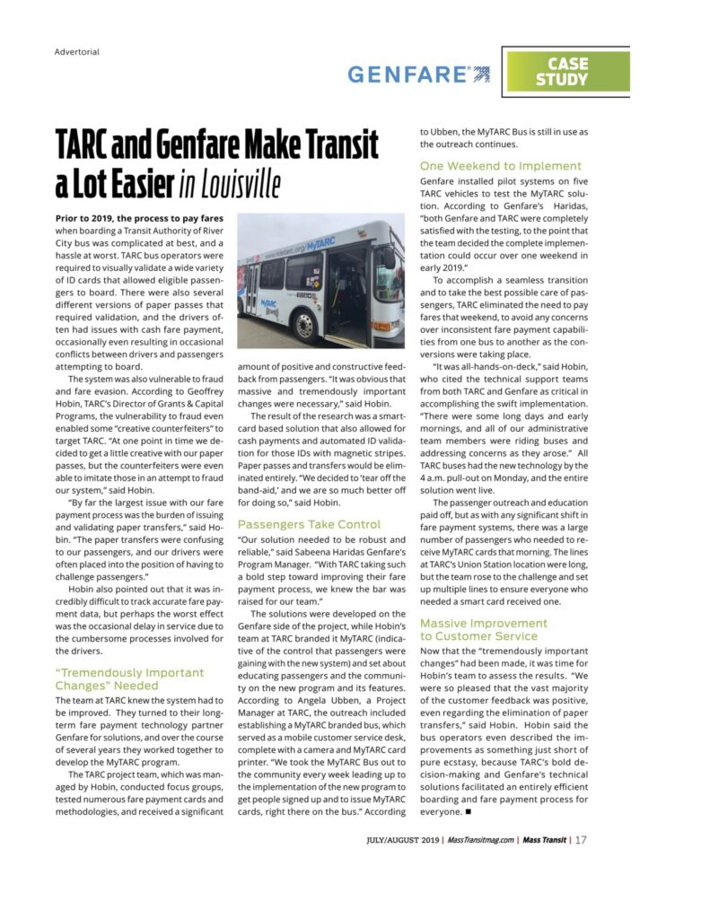 Article Authored for Mass Transit Magazine